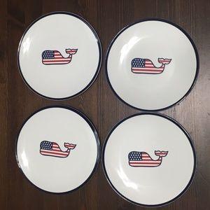 4 Vineyard Vines Whale USA Flag Appetizer Plates